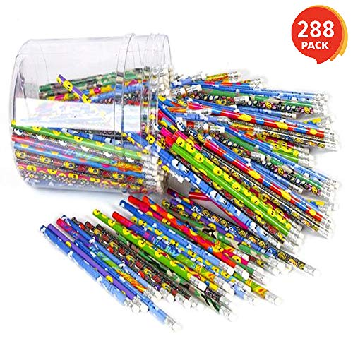 ArtCreativity Pencils Set - Pack of 288 - Includes Plastic Tube for Easy Storage - Multi-Color Prints - Great Party Favor and Fun Carnival Prize - Great Idea for Schools -