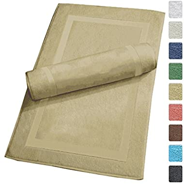 Luxury Hotel and Spa 100% Turkish Cotton Banded Panel Bath Mat Set 900gsm! (Taupe, 2 Pack)