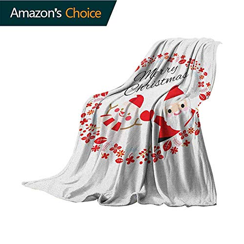 Christmas Picnic Blanket,Merry Christmas Lettering Happy Day Santa Claus and Snowman Card Noel Indoor/Outdoor,Comfortable for All Seasons,35