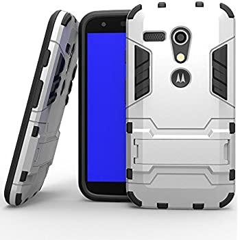 Motorola Moto G 1st Generation Case,DIOS CASE(TM) Light Duty Slim Fit Rugged Dual Layer Combo Hard Armor Detachable Protective Shell Kickstand Case Cover for Moto G 1st Gen (Silver)
