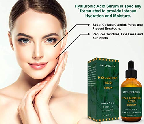51u0TW3JT3L - Hyaluronic Acid Serum for Face & Eyes (2 oz) with Vitamin C, E & Green Tea for Anti-Aging, Moisturizing, Antioxidant & Wrinkle Treatment. Best Hydrating Pure Facial Serum by Simplified Skin