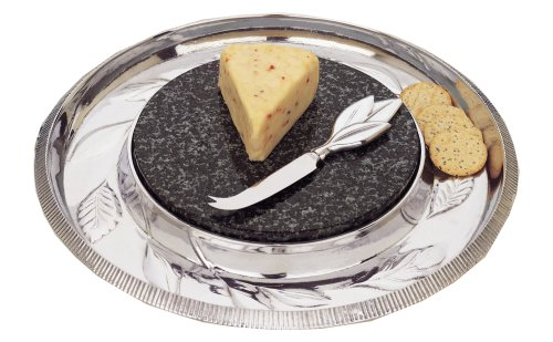 Reed & Barton Arbor Collection Cheese Board with Marble Insert & Knife (Barton Arbor Collection)