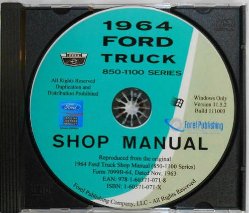 1964 FORD TRUCK REPAIR SHOP & SERVICE MANUAL CD Conventional Series F-850, (C1100 Series)
