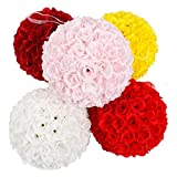 "9.84"" Wine Red Flower Ball Centerpieces Silk Rose Decorative Hanging Wedding Kissing Ball"