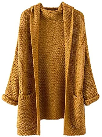 Milumia Women's Pockets Chunky Knit Open Front Cardigan Sweater ...