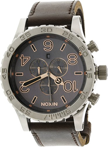Nixon 51-30 Chrono Leather Watch - Men's Gray/Rose Gold, One Size