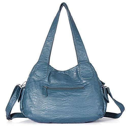 Bag 12 Hobo Shoulder Pockets Tote Top PU Handbag 3195 Street Satchel Bag Multiple Ladies' Bag Fashion Women Roomy Handle green 1 HBZqEd