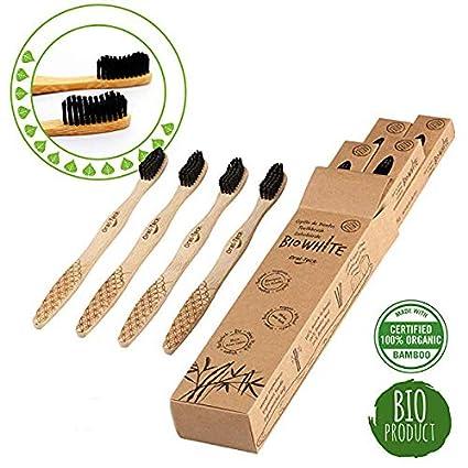 4 Cepillos Bio White dentales blanquadores de Bambu puro, Biodegradable. Recomendados por Dentistas de