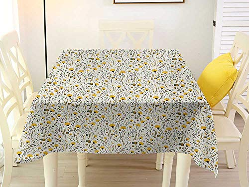 L'sWOW Checkered Square Tablecloth Doodle Yellow Flowers with Acorns and Foliage Pattern Ecology Themed Spring Yellow Sea Green Black Chairs 36 x 36 Inch Acorn Back High Chair