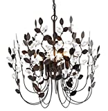 Crystal and Bronze Leaves Chandeliers Farmhouse Vintage Industrial Pendant Lighting Leaf-Shaped Hanging Lamp Ceiling Light Fixtures for Dining Rooms Living Room Bedrooms Kitchen for Valentines Day Review