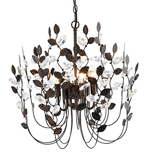 Crystal and Bronze Leaves Chandeliers Farmhouse Vintage Industrial Pendant Lighting Leaf-Shaped Hanging Lamp Ceiling Light Fixtures for Dining Rooms Living Room Bedrooms Porch Kitchen