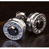 9MM Aluminum Bullet Casing Earrings Black CZ with Titanium Posts, Hypoallergenic, Nickel Free, Bullet Earring Studs