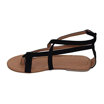 Amlaiworld Sandales Femmes, Femmes Flat Wedge Espadrille Rome Sandales Attachez les Sandales Plate-Forme Chaussures D'Été