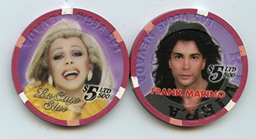 $5 Riviera La Cage Star Frank Marino female impersonator Show at the Riviera Old Obsolete Las Vegas Nevada Casino Chip Uncirculated Collectors Condition Chip Real Live chip ()