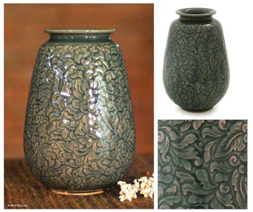 NOVICA Floral Celadon Ceramic Vase, Blue, 'Botanical Blue' by NOVICA (Image #1)