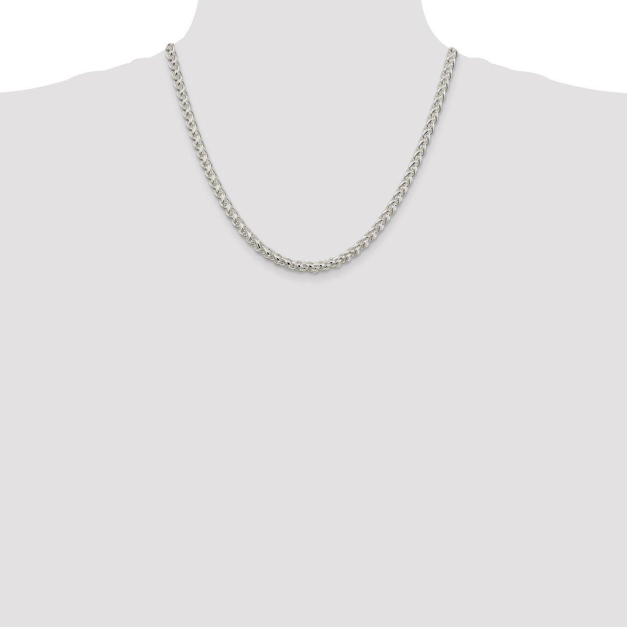 Lex /& Lu Sterling Silver 5mm Round Spiga Chain Necklace