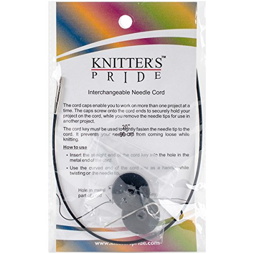 "Knitter's Pride Interchangeable Cords 11"" (20"" w/tips) Black"