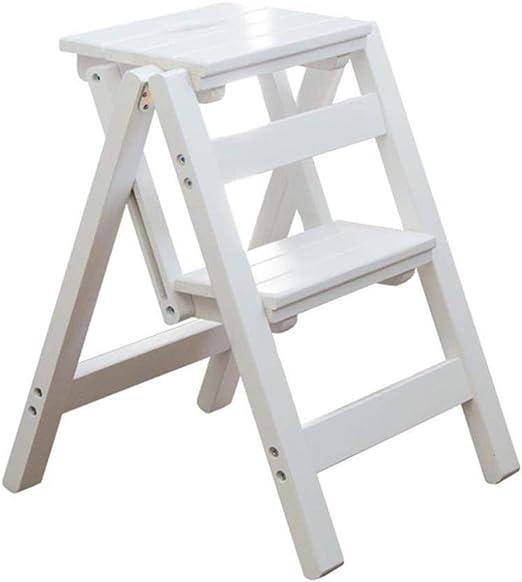 XITER Escaleras Plegables de Madera con 2 peldaños |Taburete Plegable portátil Multiusos |Escalera Escalera Escalera Taburete: Amazon.es: Hogar
