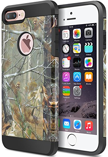 iPhone 7 Plus Case, iPhone 8 Plus Case, Dual Layer Camouflage Leopard Shockproof Protective Case TPU Bumper Hard PC Back Case Cover Skin for Apple iPhone 7 Plus & iPhone 8 Plus(Tree Print)