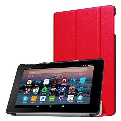 NOKEA Premium PU Leather Case for Fire HD 8 Tablet Case (7th Generation, 2017 Release), Ultra Slim Lightweight Trifold Folding Stand Hard Back Cover with Auto Wake/Sleep Function (Red) (Case 7 For Fire Zebra Kindle Hd)