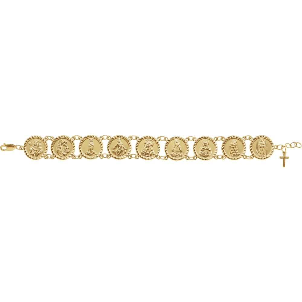 10k Yellow Gold Traditional Saints 7.5'' Bracelet