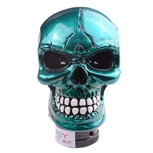 Covers Stick Gear - AutoBoy ABy Skull Head Gear Stick Shift Shifter Knob Lever Cover Universal Fit for Most Manual Transmission Vehicles(Blue)