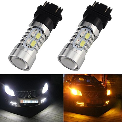 Everbright 2-Wedge 3157 Super Bright White/Amber Switchback 5730 20-SMD AX-5730 Chipsets LED Bulbs For Turn Signal Lights Cross Reference 3047 3057 3057A 3155 3157 3157A