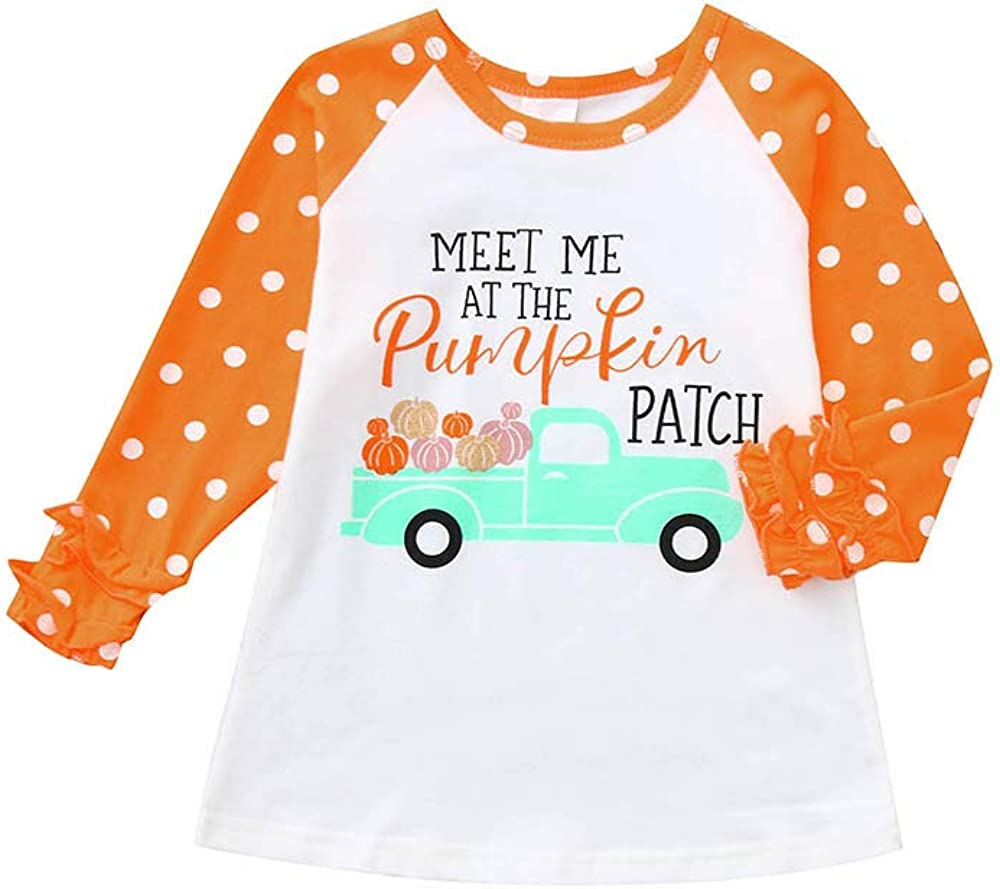 LNGRY Baby Clothes,Toddler Kids Girls Meet Me at The Pumpkin Patch Print Ruched T-Shirt Tops Outfit