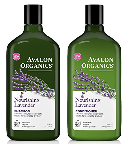 Avalon Organics All Natural Lavender Nourishing Shampoo and Conditioner With Aloe, Lavender, Chamomile, Peppermint and Babassu Oil, Sulfate Free, Paraben Free, Cruelty Free and Vegan, 11 fl. oz. each ()
