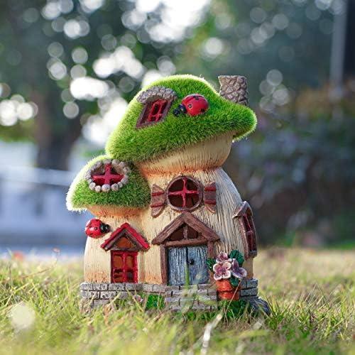 Flocked Big and Mini Mushroom Fairy Garden House Statue Outdoor Fairy House wi