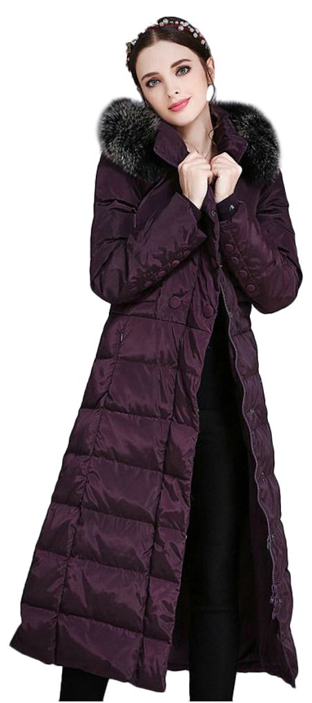 ilishop Women's Thickened Winter Coat Maxi Down Jackets with Hood Purple 18W