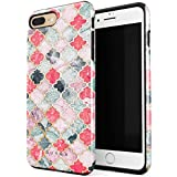 BURGA iPhone 7 Plus iPhone 8 Plus Case Sweet Chilli Moroccan Tiles Pattern Marrakesh Mosaic Heavy Duty Shockproof Dual Layer Hard Shell + Silicone Protective Cover