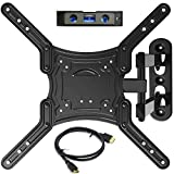 Everstone TV Wall Mount Full Motion Bracket for 23-55'TVs up to 66 lbs VESA 400 with Tilting Swivel Articulating 16' Extension Arm for Most LED LCD&Plasma Flat Screen TVs,HDMI Cable &Bubble Level