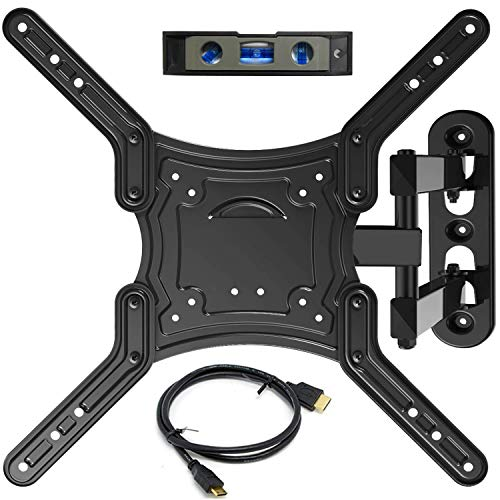 "Everstone TV Wall Mount Full Motion Bracket for 23-55""TVs up to 66 lbs VESA 400 with Tilting Swivel Articulating 16"" Extension Arm for Most LED LCD&Plasma Flat Screen TVs,HDMI Cable &Bubble Level"