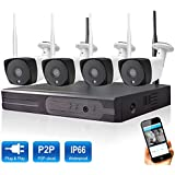 Wetrans Home Security Wireless Camera System, 4Channel 1080P Video Surveillance System, 4Pcs 1080P B