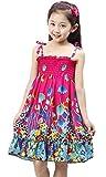 Bohemia Style Kids Girls Sleeveless Beach Mini Dress Summer Sundress 6-7Years Red