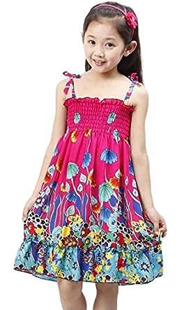 amazoncom kids girls summer beach dress bohemia boho