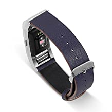 UMTELE Genuine Leather Band Replacement Strap with Metal Buckle Clasp for Fitbit Charge 2 HR, Small, Navy
