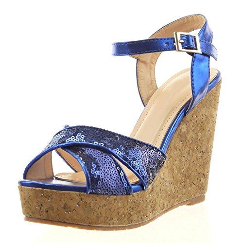 Mode 11 synthétique liège CM ouverte compensé Chaussure Talon Intérieur Bleu Sandale plateforme Cheville femmes Sopily pailettes gqHTAn