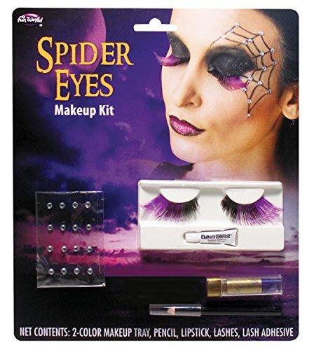 Fun World Women's Spider Eye Lashes Makeup Kit, Multi Standard ()