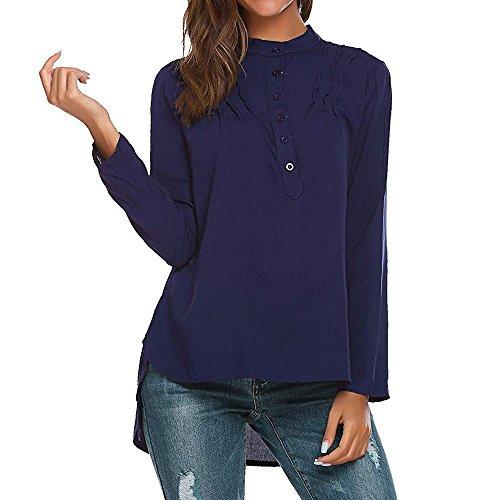 Femme en Hauts 4 V 3 Col Shirts Bleu Grande Bouton Coton T Chemise Tops Chemisier Manche Taille Fonc Elgant Blouse Bonboho Tunique 6WPdAq6