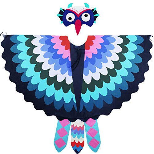 Toddler Kids Fairy Bird Costume Owl Wings Feathered with Mask - Boys Girls Animal Dress-up Party Favors (#7 Green-Blue) -