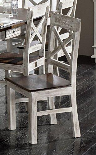 Coloniale Mango massiccio Mobili Legno massello Sedia Acacia Stile coloniale Mobili In legno massello in legno massello antico castello #21 Massivmoebel24