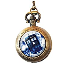 Doctor Who Inspired Pocket Watch Necklace, Tardis in Blue Mist, Police Box, Vintage Style Watch