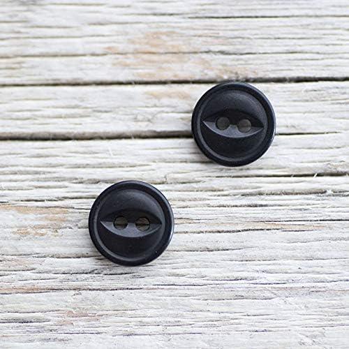 【丸型キャッツアイ(猫目)】ナットボタン #ONT08H 2穴 10mm C/#9 ブラック 10個セット