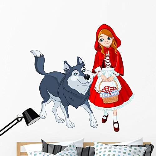 Wallmonkeys Little Red Riding Hood and Wolf Wall Decal Peel and Stick Graphic WM66434 (48 in H x 48 in W)