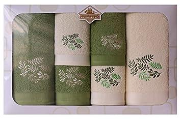 Juego de 6 Toallas para Bordado de otoño, algodón Peinado, Color Crema/Verde Oscuro, 62 x 10 x 39 cm: Amazon.es: Hogar