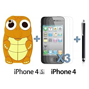 LJF phone case OnlineBestDigital - Turtle Style 3D Silicone Case for Apple iPhone 4S / Apple iPhone 4 - Lightbrown with 3 Screen Protectors and Stylus