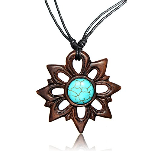 Earth Accessories Adjustable Carved Pendant Necklace with Organic Wood and Synthetic Turquoise Stone Inlay ()