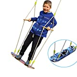 HappyPie Children Trapeze Tree Skateboard Swing with 93'' Adjustable Rope Outdoor Exercise Toy - Shark